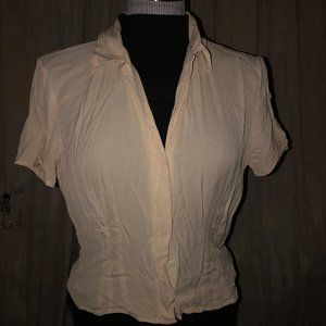 Banana Republic 100% silk ivory fitted blouse M